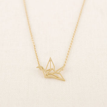 Min 1pc Gold Silver Plated Origami Crane Necklaces for Women Cute Bird Chain Necklaces 2015 Simple Couple Necklaces