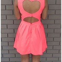 Sexy Neon Coral Vintage Back Heart Cut Out Mini Dress Sleeveless Zip Back Closure