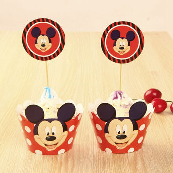24pcs Mickey Mouse Cup cake Muffin Paper Wrapper and Toppers