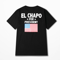 The Flag Of United States Hip Hop Streetwear Blakc/white T Shirts Retro EL CHAPO For Present Print High Street T-shirt