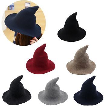 Women Witch Hat For Halloween Adult Bucket Hats Wool Magic Cap Party Costume Accessory Caps