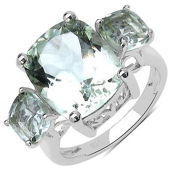 A Perfect Natural 6.2CT Cushion Cut Green Amethyst Journey Ring