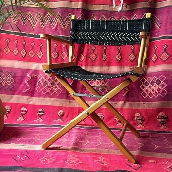Black & White Tribal African Mudcloth Vintage Directors Chair