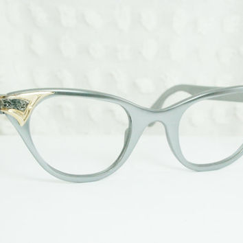 Vintage Tura 50s Cat Eye Glasses 1950's Metal Eyeglasses Aluminum Silver Pewter with Gold Filigree Applique 45/24 NOS Metal Optical Frame