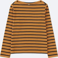 WOMEN STRIPED BOAT NECK LONG-SLEEVE T-SHIRT