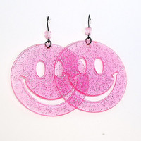 Pink Smiley Earrings