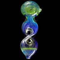 Twisted Chamber Green Spoon Pipe