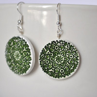 Stamped lace pattern polymer clay earrings