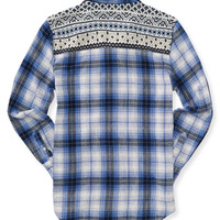 Long Sleeve Hi-Lo Sweater Yoke Woven Shirt