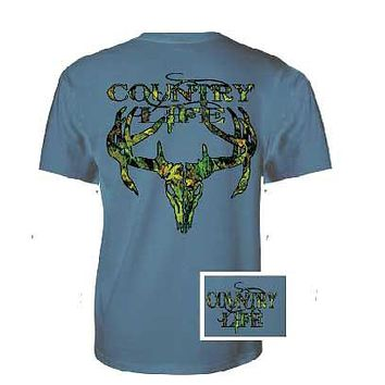 Sale Country Life Outfitters Blue Camo Realtree Deer Skull Head Hunt Vintage Unisex Bright T Shirt