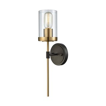 14550/1 North Haven 1 Light Wall Sconce In Oil Rubbed Bronze With Satin Brass Accents And Clear Glass
