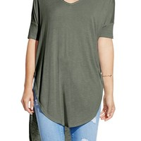 Two by Vince Camuto V-Neck Slub Knit Dolman Sleeve Tunic | Nordstrom