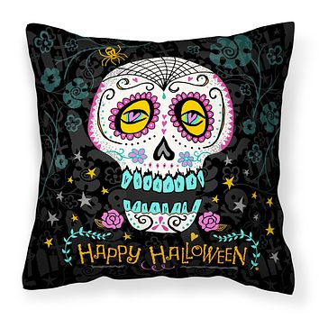 Happy Halloween Day of the Dead Fabric Decorative Pillow VHA3035PW1818