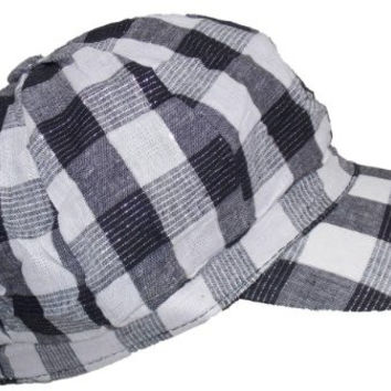Women Lumberjack Plaid Newsboy Hat w/ Silver Accents (One Size) - White