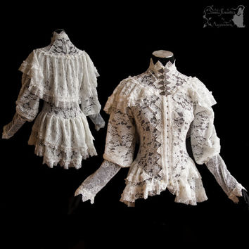 Blouse, Victorian inspired, with capelet, ivory, off white, Somnia Romantica, approx size small - medium, see item details for measurements