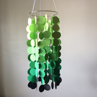 Nursery mobile, baby mobile, Green ombre and gray floating circles mobile. Nursery mobile, Crib mobile, paper circle mobile, Birthday.