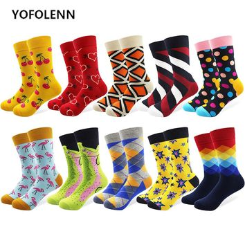 10 Pairs/lot Men's Funny Colorful Combed Cotton Happy Socks Multi Pattern Argyle Stripe Cartoon Dot Novelty Skateboard Art Socks