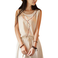 White Sleeveless Drawstring Pleated A-Line Dress