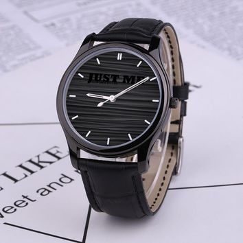 Black Quartz Watch With Black Genuine Leather Band