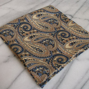 Silk Mens Pocket Square-Hand Rolled 100% Silk Gold, Blue and Black Paisley Pocket Square, Silk Pocket Square, Suit Pocket Square