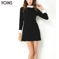 New Arrival Women Autumn Fashion Dress Casual Long Sleeve Patchwork Lapel Back Zip Dress