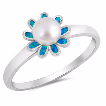 Sterling Silver Cultured Pearl Lab Blue Opal Pearl Blossom Ring