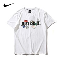 Nike JUST DO IT Summer Hot Sale Women Men Casual Print T-Shirt Top White