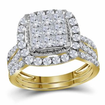 14kt Yellow Gold Women's Princess Diamond Halo Bridal Wedding Engagement Ring Band Set 1-3-4 Cttw - FREE Shipping (US/CAN)