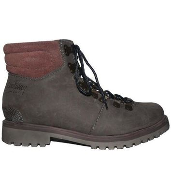 ONETOW Coolway Bridget - Grey Leather Lace-Up Hiking Boot