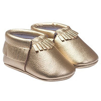 TANGDA Infant Baby Toddler Newborn Leather Soft Sole Tassel Pre-Walkers Shoes Moccasins Slip-on Crib Shoes Golden 6-12months
