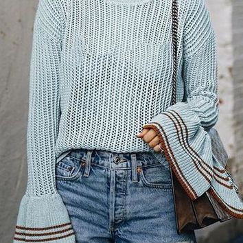 Blue Crew Neck Flare Sleeve Chic Women Knit Sweater