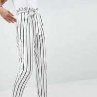 ASOS DESIGN tailored casual tie waist linen peg trousers at asos.com
