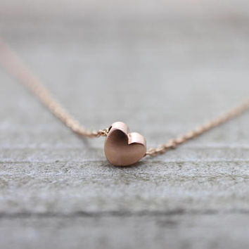 Tiny heart rose gold love necklace