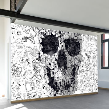 Doodle Skull Wall Mural