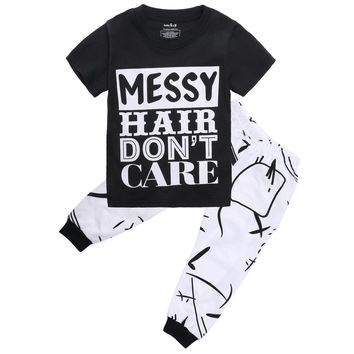 2pcs set Kid clothes set 2016 Brand summer kids clothes sets t-shirt+pants 2pcs suit clothing set geometric Print sport suits