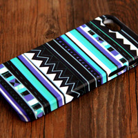 Aztec Blue Geometric 3D-Wrap iPhone 6 case iPhone 5S Case iPhone 5 Case iPhone 5C Case iPhone 4S Case iPhone 4 Case