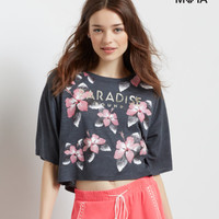 3/4 Sleeve Paradise Hibiscus Boxy Crop Top