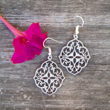 Lace silver earrings Filigree dangle earrings Statement earrings Bridal romantic jewelry Oriental earrings Gypsy style Bridesmaid gift her