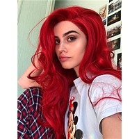 Long Pure Red Wavy Synthetic Lace Front Wig