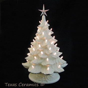Winter White Ceramic Christmas Tree Crystal Lights Large 18 Inch Tall Electric Tabletop Tree