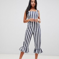 ASOS DESIGN Petite Stripe Pinny Jumpsuit With Frill Hem at asos.com
