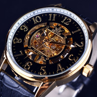 SEWOR Fine Scale Design Black Gold Watch Mens Watches Top Brand Luxury Skeleton Mechanical Watch Relogio Male Clock Erkek Saat