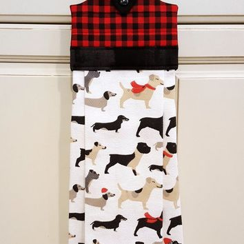Hanging Kitchen Towel Christmas Dogs in Scarves, Winter Tea Towel, Christmas Kitchen Decor | SewAmazin