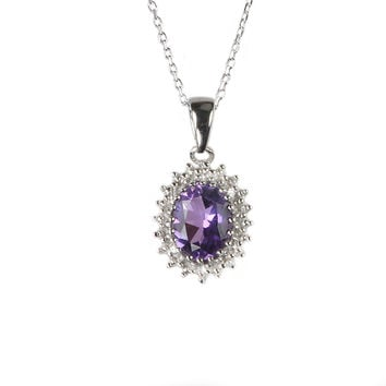 Sterling Silver Amethyst and Diamond Necklace (.01ct) Oval Pendant Necklace