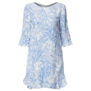 Refreshing Style Scoop Collar Butterfly Sleeve Floral Print Flounced Women's Dress