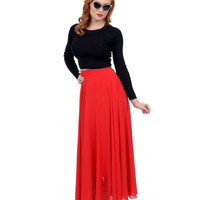 Red High Waisted Hazel Maxi Skirt