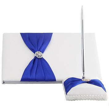 White Satin Wedding Guest Book and Pen Set With Royal Blue Sash