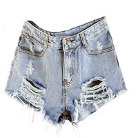 Light Wash High Waisted Shorts