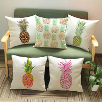 New Cojines Home Decor Cushion Linen Cotton Smiley Face Pillow Sofa Cushions Decorative Throw Pillows Colorful Pineapple