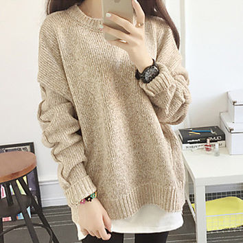 Women's Popular Round Neck Long Sleeve Pullover Sweater